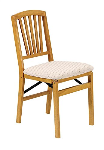Slat Back Folding Chair In Warm Oak Finish – Set Of 2 Features