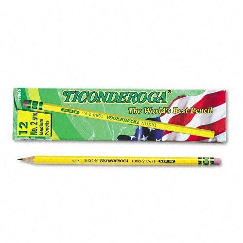 Dixon : Ticonderoga Woodcase Pencil, F #2.5, Yellow Barrel, Dozen -:- Sold as 2 Packs of - 12 - / - Total of 24 Each by Dixon