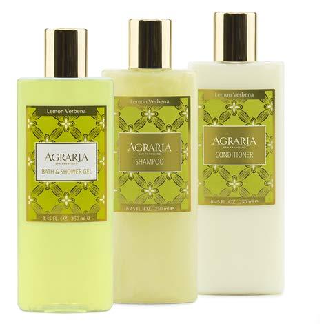 Agraria Premium Aromatherapy Lemon Verbena Bath & Shower Gel, Shampoo, and Conditioner Bundle (3 Pack)