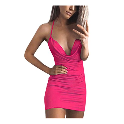 647dd962 Anxinke Women Sexy Halter Neck Backless Mini Bodycon Dress for Evening  Party (Hot Pink, S)