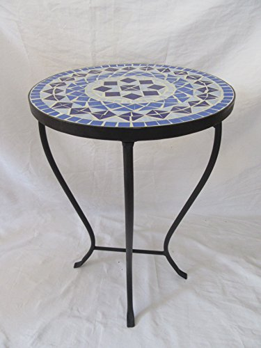 Blue Mosaic Black Iron Outdoor Accent Table 21