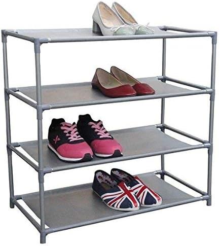 Amazon Com Home Basics Multipurpose 12 Pair Non Woven Free Standing Shoe Rack 4 Tier Home Kitchen