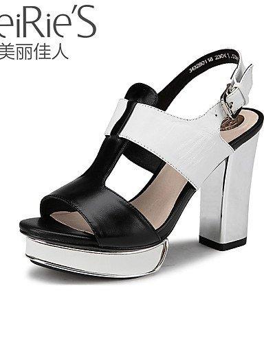 Casual Sheepskin Toe Office Heel amp; Sandals Chunky ShangYi Black White Career Shoes Open Heels Women's Black qEwaTn7x4f