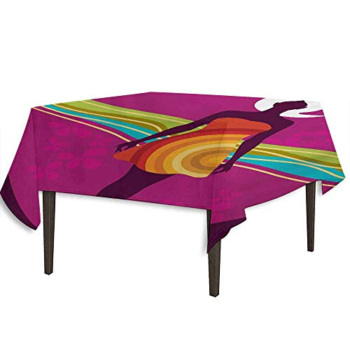 kangkaishi Youth Printed Tablecloth Young Beauty in an Abstract Dress on Big Pink Dots Wavy Striped Border and Flowers Outdoor and Indoor use W54.3 x L54.3 Inch Multicolor ()