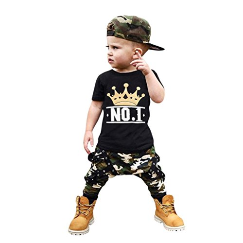 y Boy Letter T Shirt Tops+Camouflage Outfits Clothes Set (3Years) ()