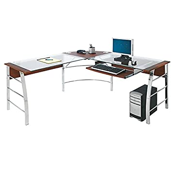 Realspace Mezza U0026quot;Lu0026quot; Shaped Glass Computer Desk, ...