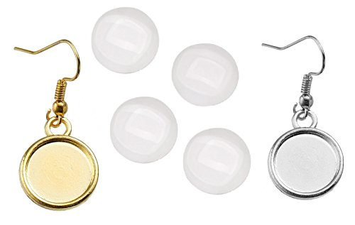Earring Wire Hooks by JGFinds - 12mm Cabochon Settings, 40 Pack + 95 Glass Cabochons (Silver and Gold Tone Mix)