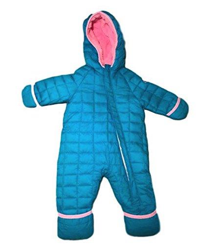 Hooded Snowsuit (Snozu Infant Toddler Baby Childs Hooded Snowsuit (3/6 Months, Blue/Light Pink Lining))