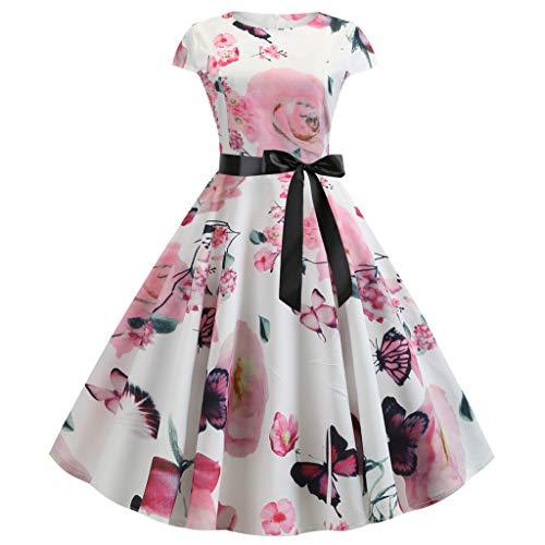 Big Sale Yetou Womens Vintage Dot Print Short Sleeve Midi Club Party Dress Bodycon O-Neck Evening Party Dresses