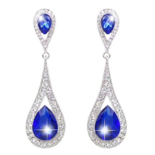 Fancy Earrings Jewelry (EVER FAITH Women's Austrian Crystal Elegant Dual Teardrop Pierced Dangle Earrings Royal Blue Silver-Tone)