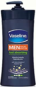 Vaseline Men Body and Face Lotion , 20.3 Ounce Bottle (Pack of 3)