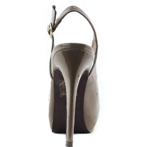 Breckelles Womens Vanesa-11 Sling Back Pump Pelle Verniciata Taupe