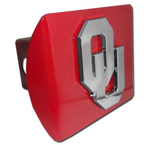 Oklahoma Sooners Crimson OU Emblem Metal NCAA Trailer Hitch Cover Fits 2 Inch Auto Car Truck Receiver