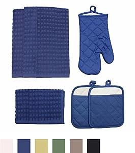 J & M Home Fashions 70054 8-Piece Solid Kitchen Towel Set
