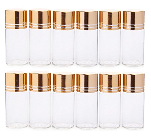 12PCS 10ML/0.34oz Refill Empty Clear Glass Essential Oils Bottle Jars Packing Vials Travel Sampling Sample Perfume Aromatherapy Cosmetics Cordyceps Powder Liquid Storage Holder Containers(Gold Cap) ()