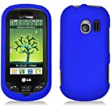 Blue Hard Plastic Case Cover for LG VN271 Extravert w/ Rubberized texture coating