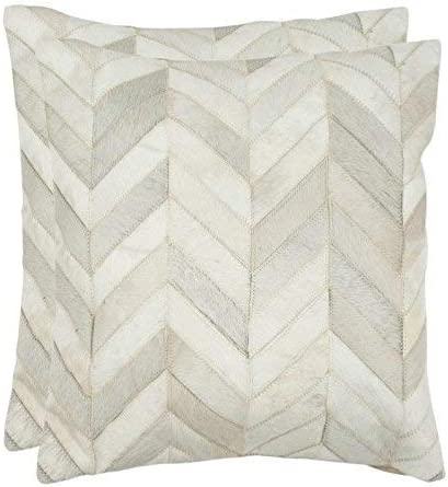 Safavieh Pillow Collection Throw Pillows, 18 by 18-Inch, Marley Multicolored and White, Set of 2