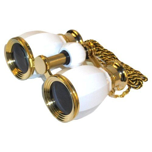 HQRP Opera Glasses Antique Style White Pearl w/Crystal Clear Optic (CCO)& Gold Trim with Necklace Chain