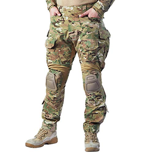 IDOGEAR G3 Combat Pants Multicam Men Pants with Knee Pads Airsoft Hunting Military Paintball Tactical Camo Trousers (Multicam, 32W/32L) (Knee Pants Pads)