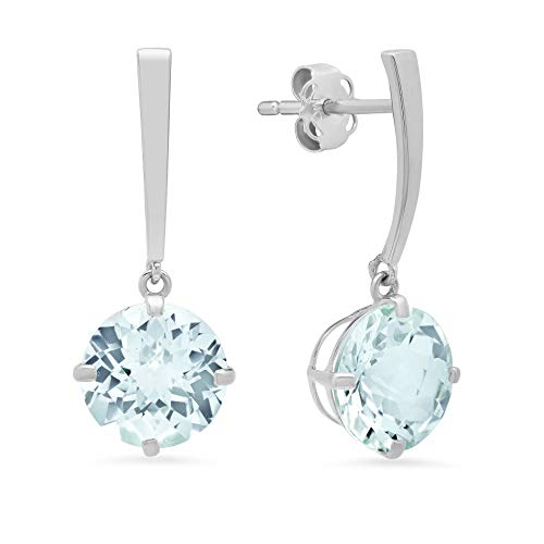 14k White Gold Solitaire Round-Cut Aquamarine Drop Earrings (8mm)