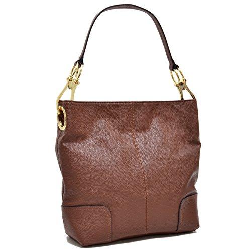 MKY Classic Medium Hobo Shoulder Bag Tote Handbag with Big Snap Hook PU Leather Coffee ()