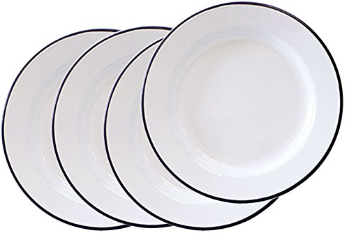 Enamelware - Set of 4 - Dinner Plates - Solid White with Black -