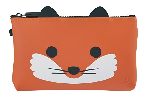 (P+G Design NUU Soft Silicone Fox Cosmetic Pouch Makeup Travel Bag Purse - Authentic Japanese Design - Durable Quality)