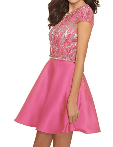 Satin Gowns Prom Dress Short Homecoming Cdress Cocktail Dresses pink Beaded Lace Hot Evening XFz0q