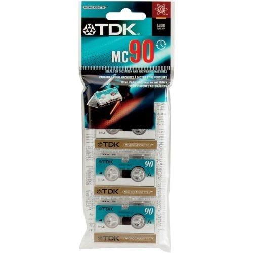 TDK Microcassette MC90 Audio Tape, 3 Pack