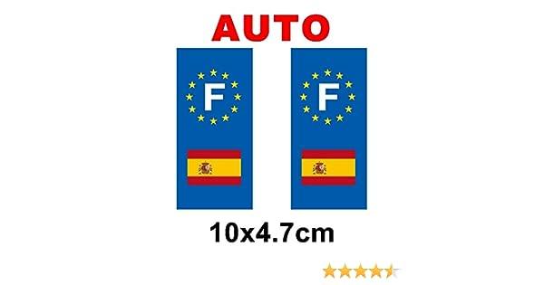 Adhesivo decorativo, diseño de placa de matrícula con bandera de España: Amazon.es: Hogar