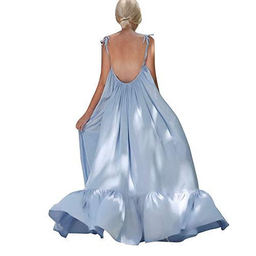 ZQISHMAO 2019 Women Boho Maxi Dress Sexy Backless Sleeveless Beach Party Flowy Summer Long Sun Dress Plus Size(Light Blue, -