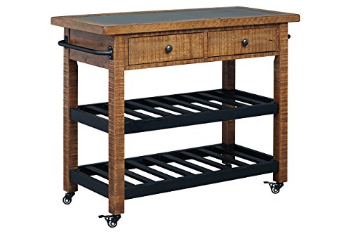 Kitchen Serving Cart with Casters for Mobility, 2 Spacious Drawers and 2 Open Shelves, 2 Tower Bars, Durable Construction, Practical, Perfect for Dining Room, Multiple Finishes (Brown, Concrete Top) ()