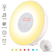 Alarm Clock, Wake Up Light Sunrise Simulation Daylight Alarm Radio Clock with 7 Color Night Light, Nature Sounds, FM Radio, Snooze and Touch Control