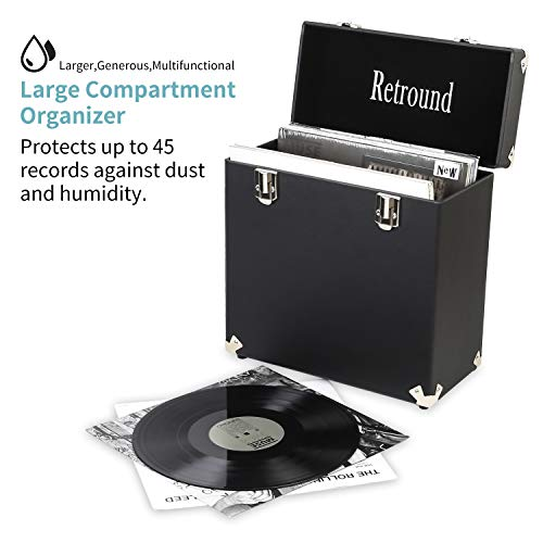 (Retround Vintage Retro Vinyl leather Record Holder Case, LP Storage Carrying Case for 78 rpm, 45 rpm, 33 rpm Standard Size Vinyl Records Collections Storage Organizer Display Box-12 in (Leather Black))