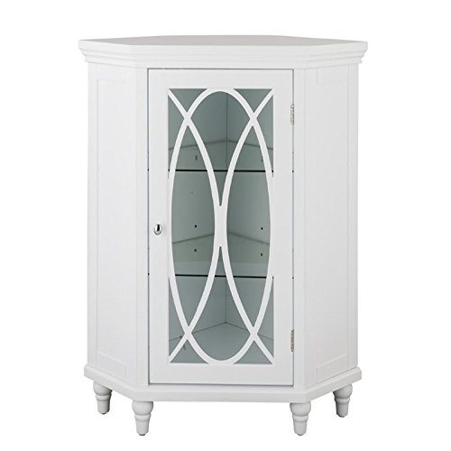 (Corner Floor Cabinet in White)
