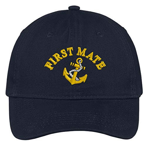 First Mate with Ships Anchor Embroidered Low Profile Ball Cap - Navy Blue ()