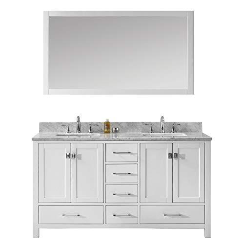 Virtu USA Caroline Avenue 60 inch Double Sink Bathroom Vanity Set in White w/Square Undermount Sink, Italian Carrara White Marble Countertop, No Faucet, 1 Mirror - GD-50060-WMSQ-WH