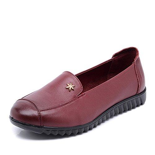 mis zapatos de mamá/Medias de mujer y zapatos de las mujeres de edad/ edad media de fondo plano de cuero zapatos fondo suave C