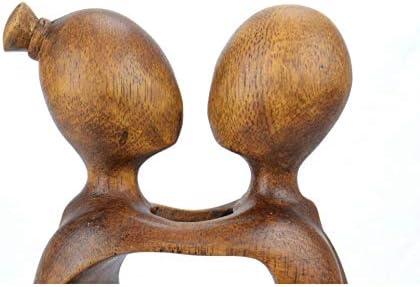 Statuette astratta coppia sensuale H20/cm in legno massiccio intagliato mano