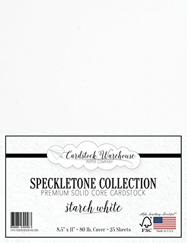 (Starch White SPECKLETONE Recycled Cardstock Paper - 8.5 x 11 inch - Premium 80 LB. Cover - 25 Sheets)
