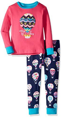 Hatley Girls' Little Organic Cotton Long Sleeve Appliqué Pajama Sets, Cute Hot air Balloons, 2 Years