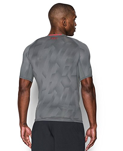 Under Armour Men's HeatGear Armour Printed Short Sleeve Compression Shirt, Graphite (042)/Pomegranate, Medium by Under Armour (Image #1)