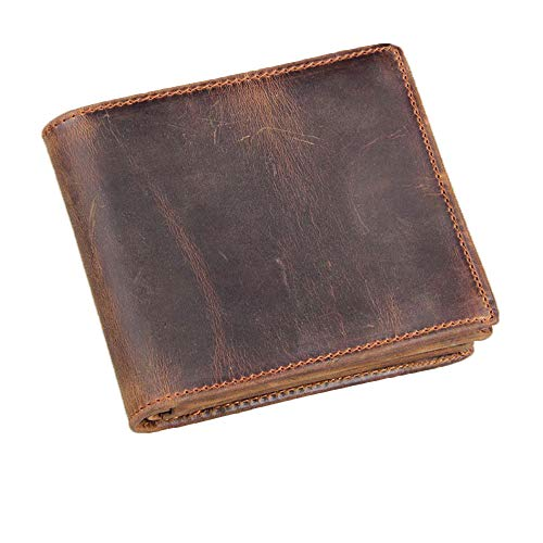 HRS Genuine Leather Large Vintage Italian Bifold Men's Wallet with RFID Blocking