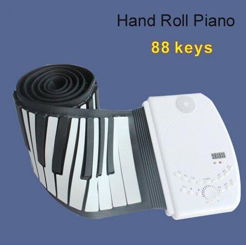 TOMI@ 88 keys hand roll up piano music educational insturment with rechargingable polymer battery demo songs SD card slot USB port