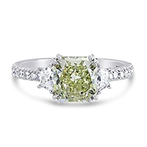 2.36Cts Green Diamond Engagement Ring Set in Platinum GIA Certificate Size 6