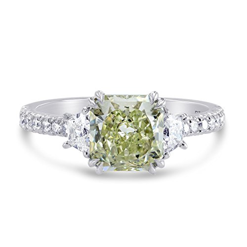2.36Cts Green Diamond Engagement 3 Stone Ring Set in Platinum GIA Certificate Size 6