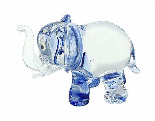 Elephant Miniature (Audomna Shop Hand Blown Art Glass, Blue Elephant Miniature Animals Collection, Dollhouse Miniatures)