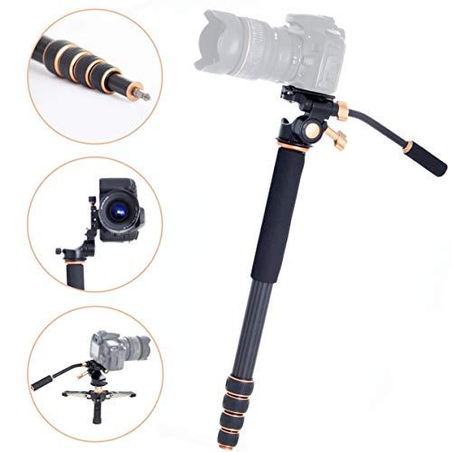 Professional Carbon Fiber Monopod Kit with Photo and Video 3-Way Head & Multi Direction Fluid Base for DSRL Cameras and Videocameras Pole Stick