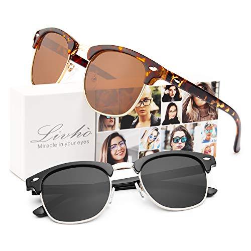 Livhò Polarized Sunglasses Women Men Semi Rimless Frame Retro Sunglasses (Leoaprd Brown + Black Grey)