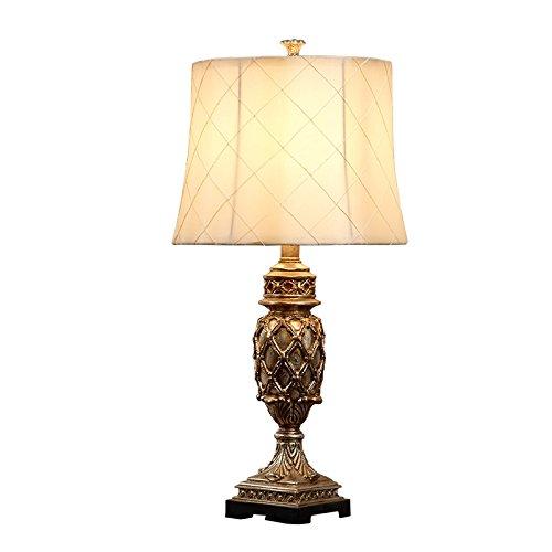 Lámpara de mesa europea del estilo retro, tela escocesa amarilla ...